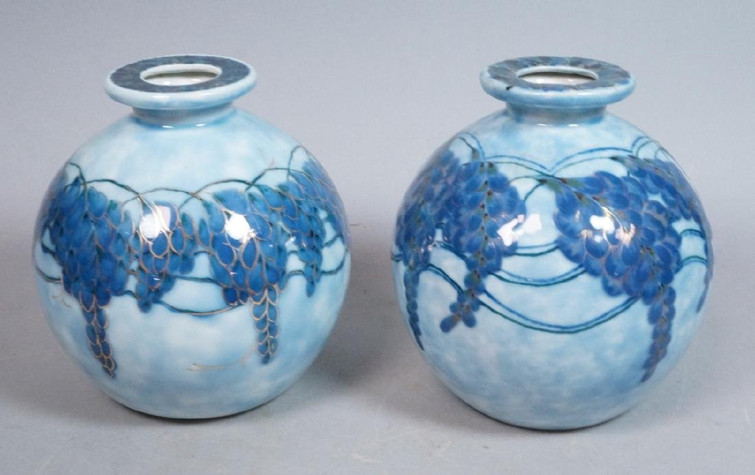 Pr THARAUD in Limoges France Vases. Mottled blue