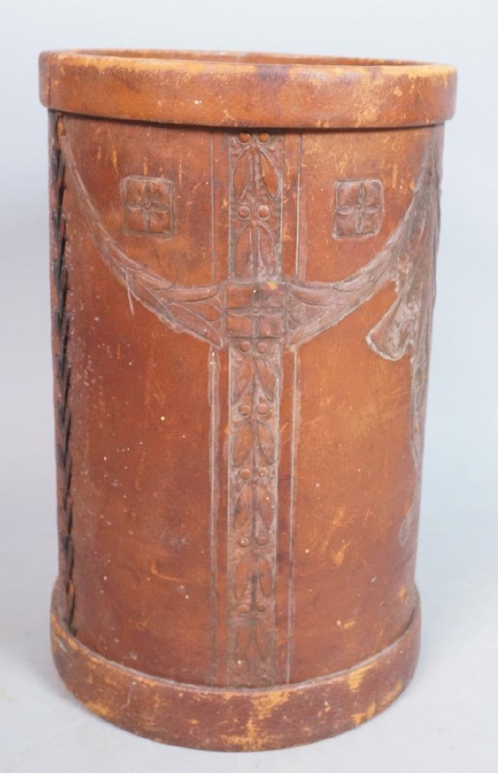 Leather bound CORDOVA SHOP Waste Can. Stylish sec