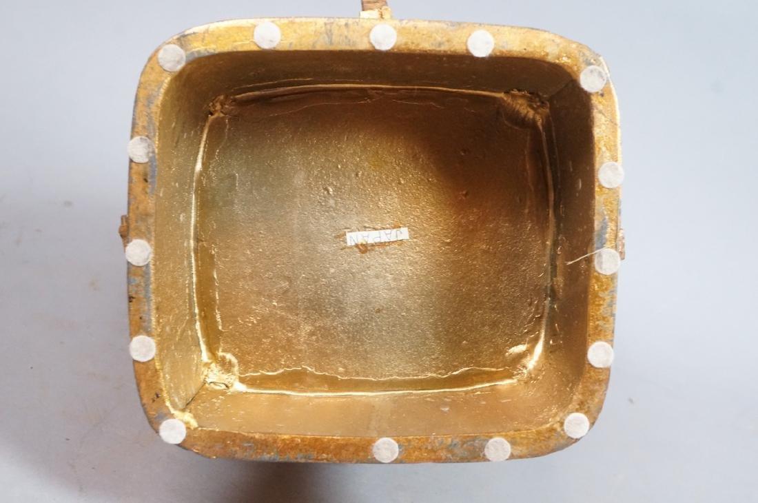 Heavy Gilt Metal Japanese Urn Vase. Figural handl - 6