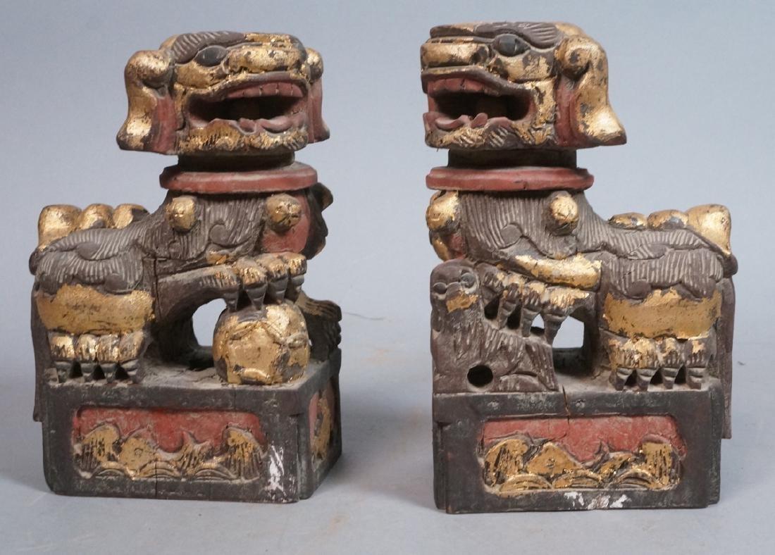Pr Carved Wood Foo Dogs Figural Sculptures. Polyc