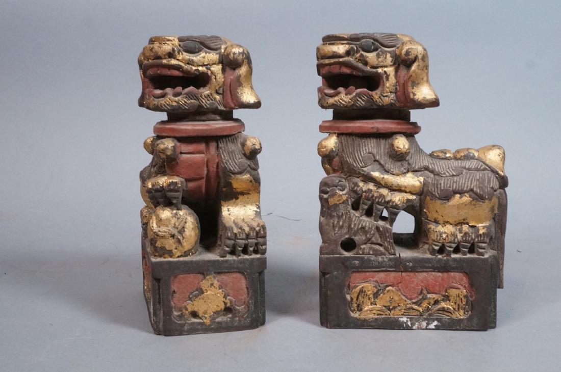 Pr Carved Wood Foo Dogs Figural Sculptures. Polyc - 2