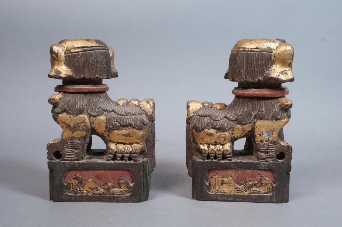 Pr Carved Wood Foo Dogs Figural Sculptures. Polyc - 3