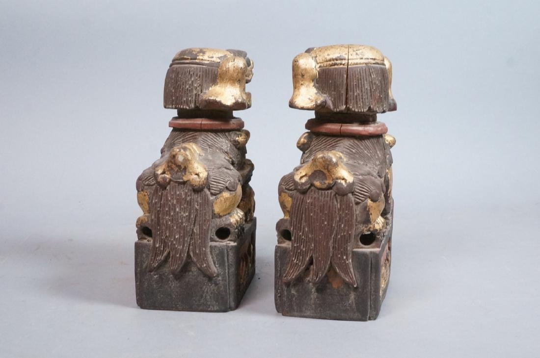 Pr Carved Wood Foo Dogs Figural Sculptures. Polyc - 4