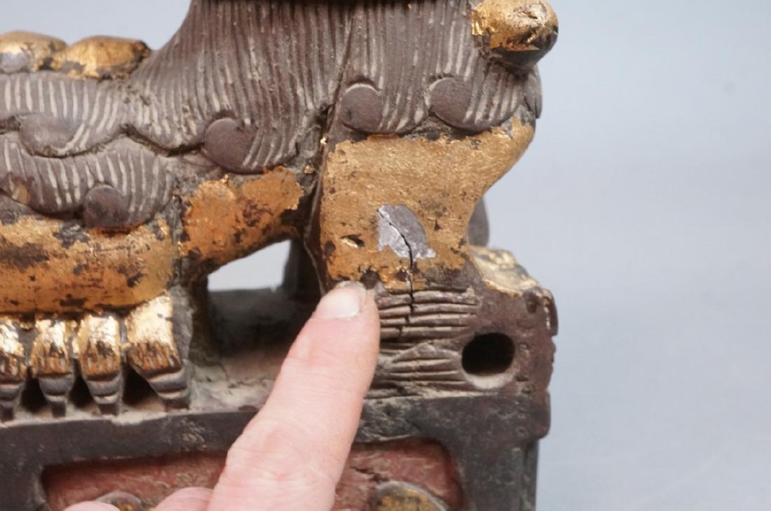 Pr Carved Wood Foo Dogs Figural Sculptures. Polyc - 6