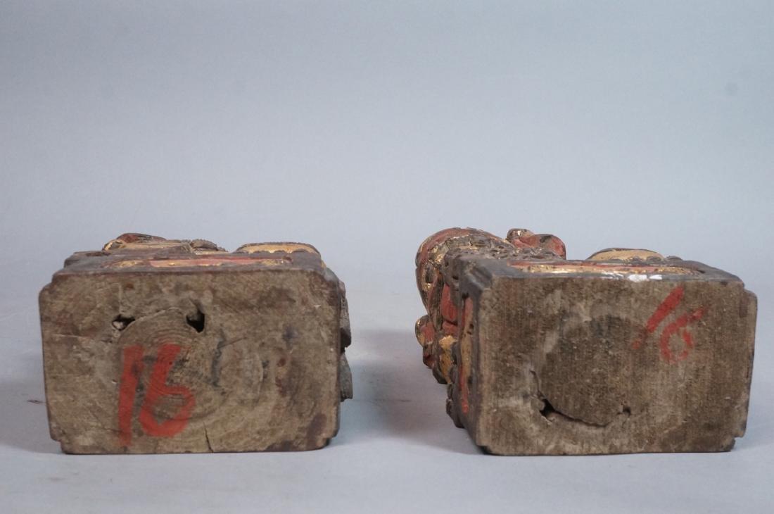 Pr Carved Wood Foo Dogs Figural Sculptures. Polyc - 8