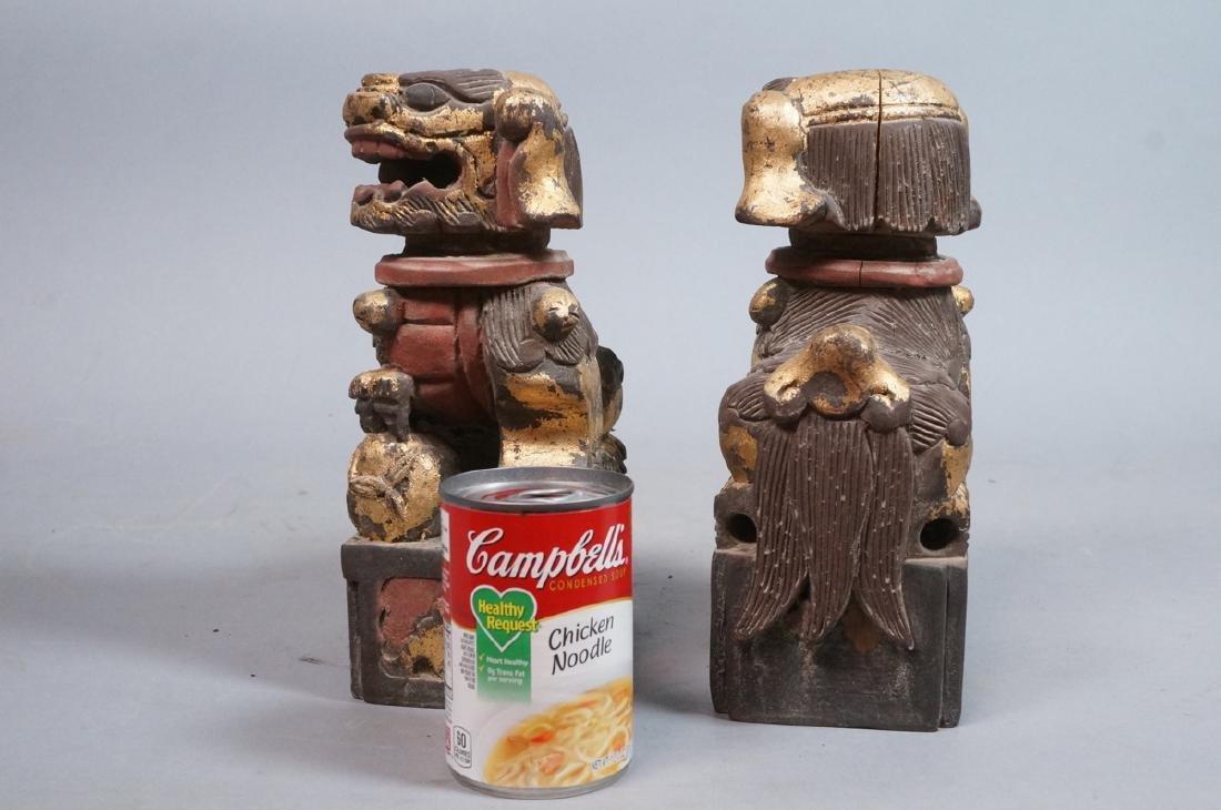Pr Carved Wood Foo Dogs Figural Sculptures. Polyc - 9