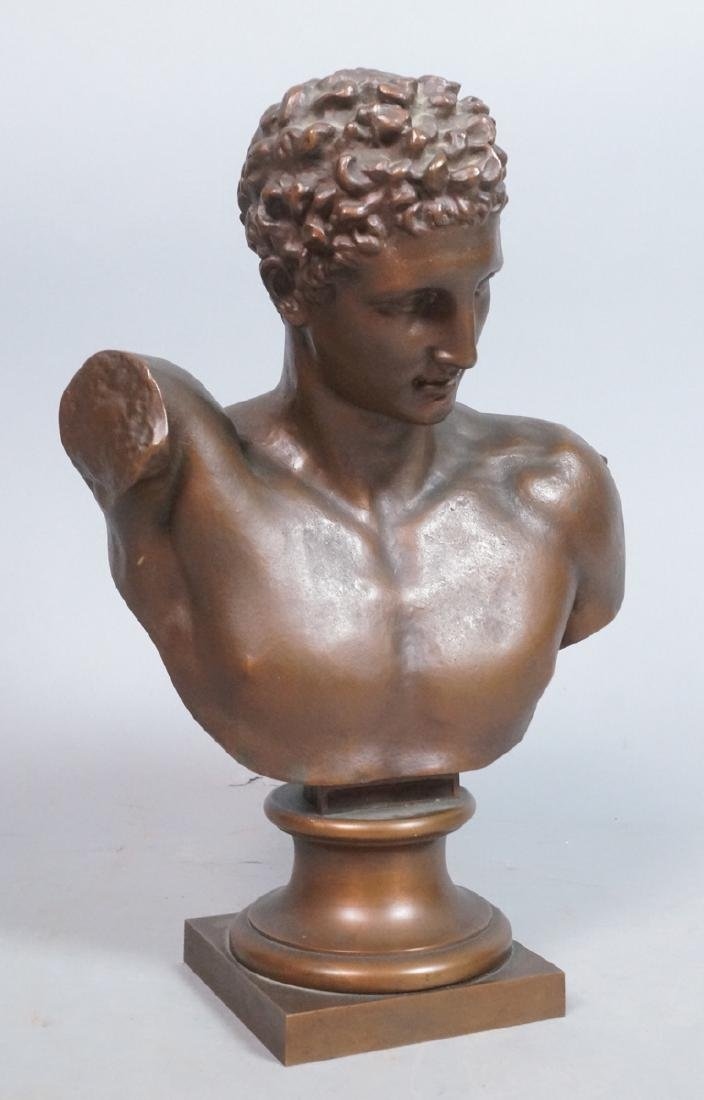 Cast Metal Bronze Classical Form Bust. Portrait b