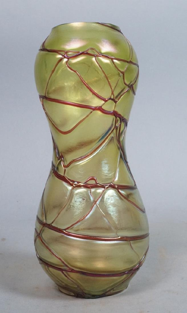 Austrian LOETZ Style Iridescent Glass Vase. Corse