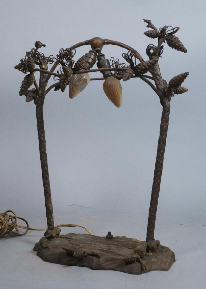 Figural Metal Pine cone Twig Lamp Base. Upright p