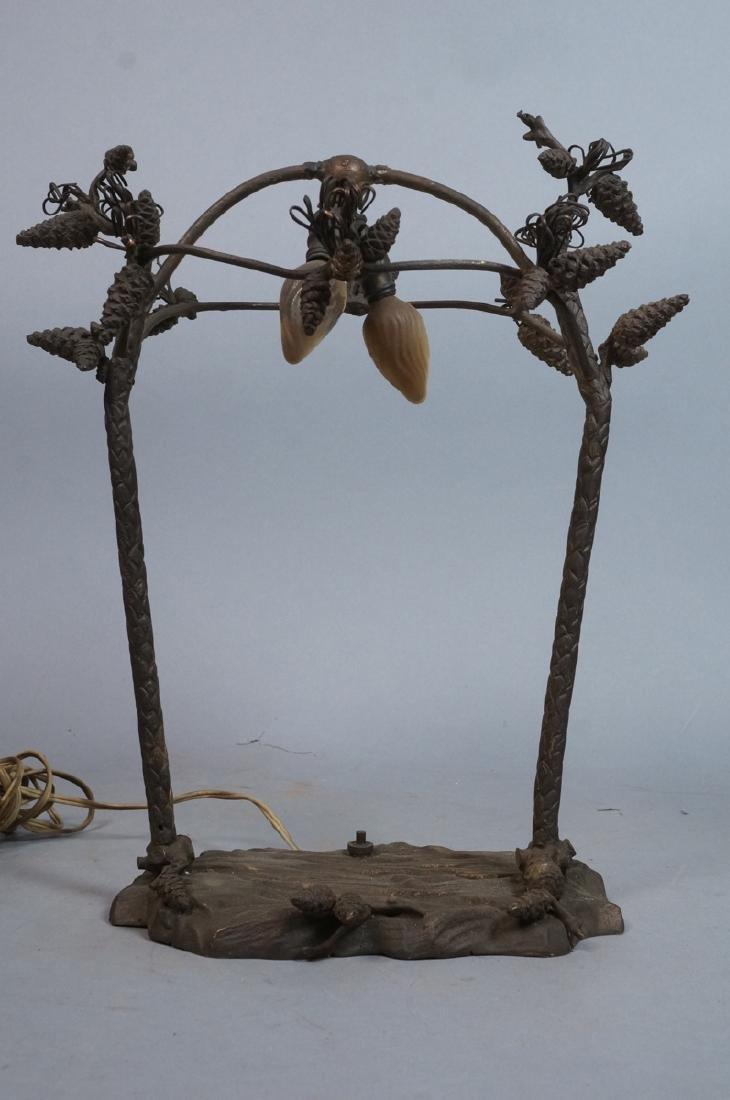 Figural Metal Pine cone Twig Lamp Base. Upright p - 2