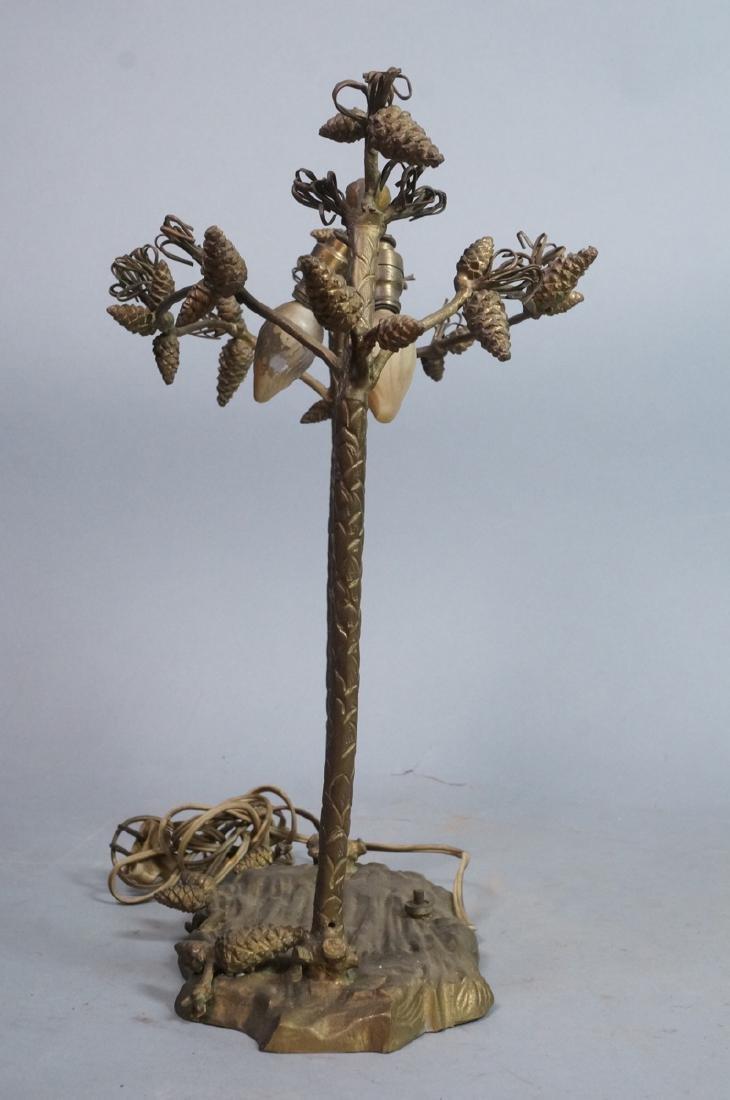 Figural Metal Pine cone Twig Lamp Base. Upright p - 3
