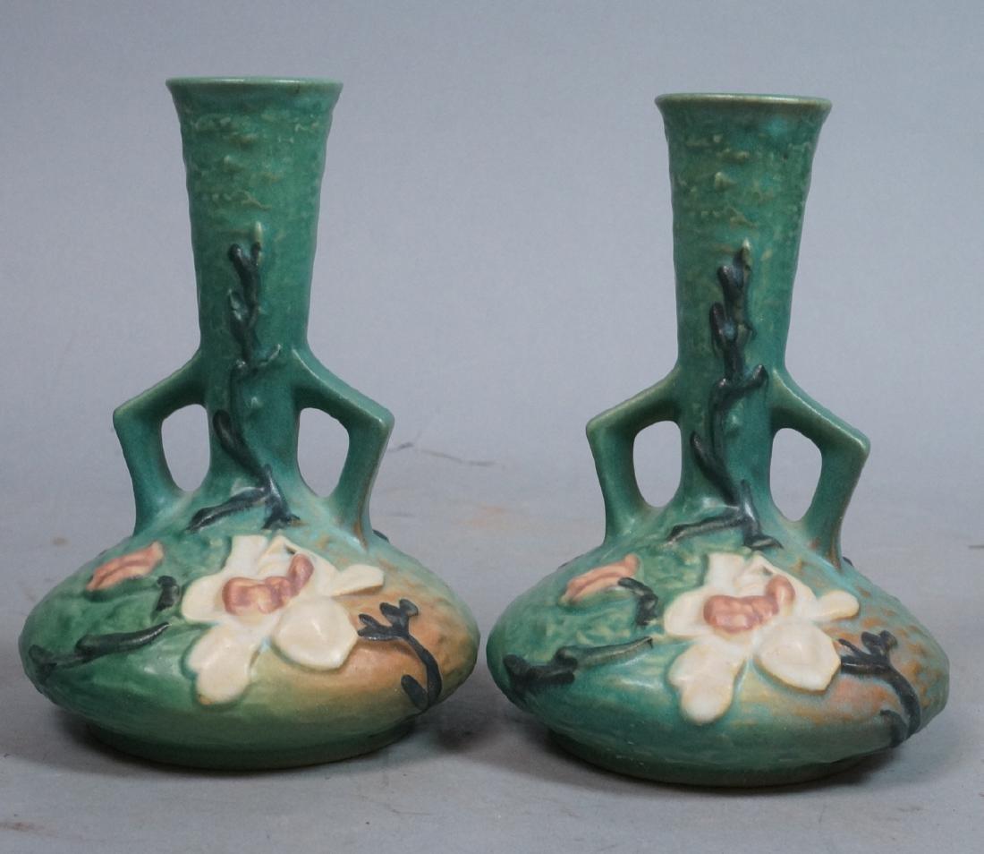 Pr ROSEVILLE Art Pottery Magnolia Vases. Handled