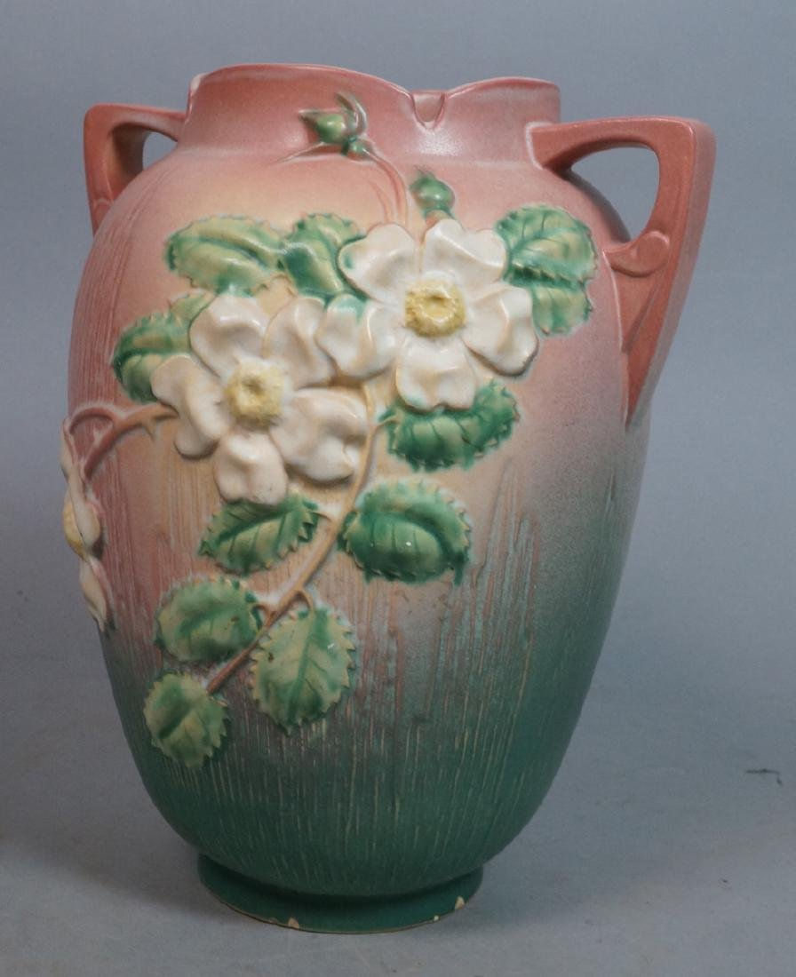 "12"" ROSEVILLE Art Pottery Vase White Rose. Pink g"