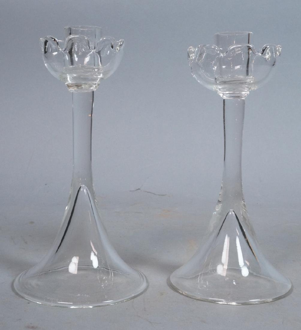 2pc CARTIER Handblown Clear Glass Candle Sticks.