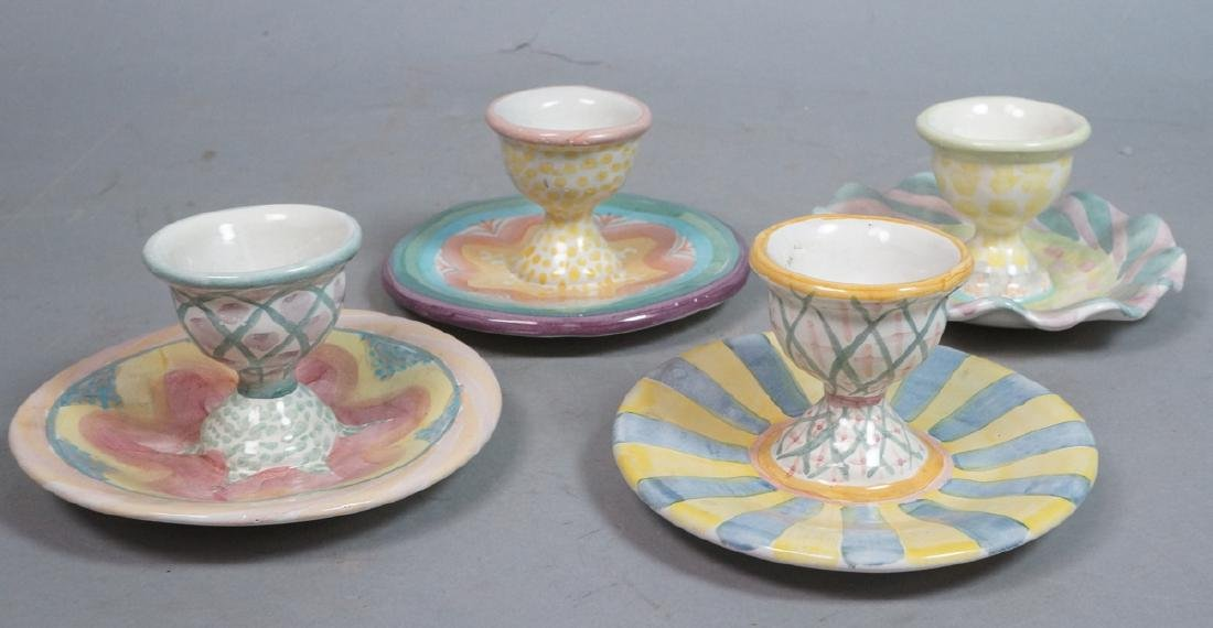 4 MACKENZIE CHILDS Egg Cups. 1991, 1992. Pastel c
