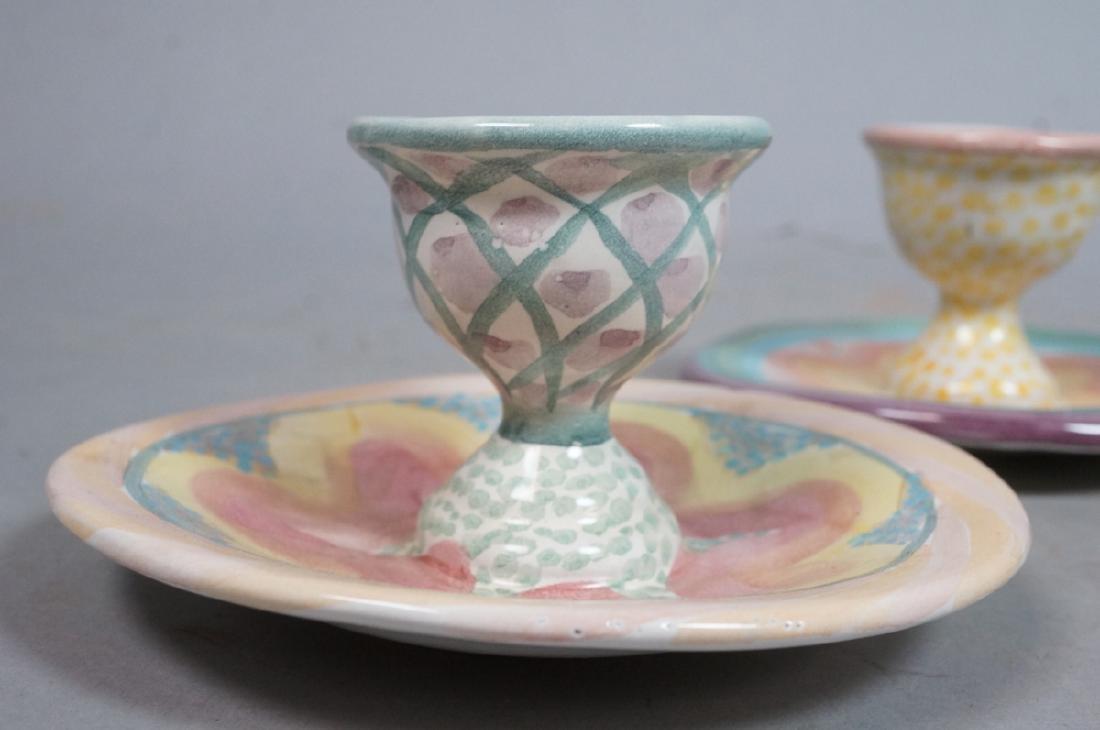 4 MACKENZIE CHILDS Egg Cups. 1991, 1992. Pastel c - 4