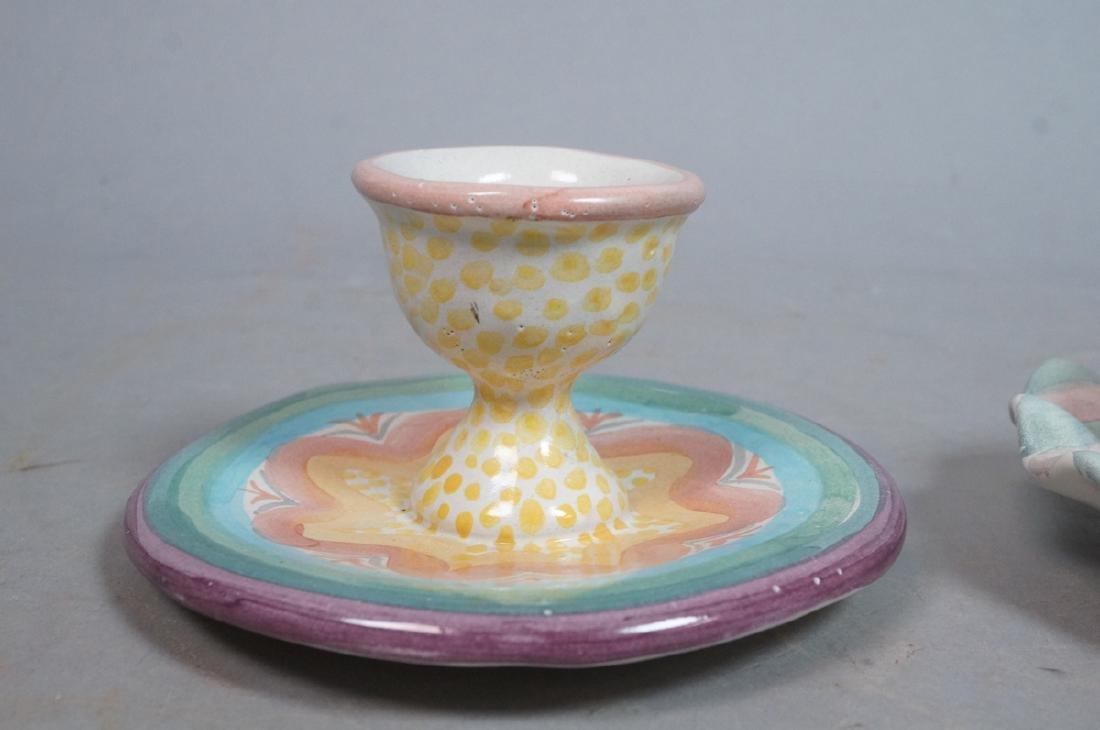 4 MACKENZIE CHILDS Egg Cups. 1991, 1992. Pastel c - 6