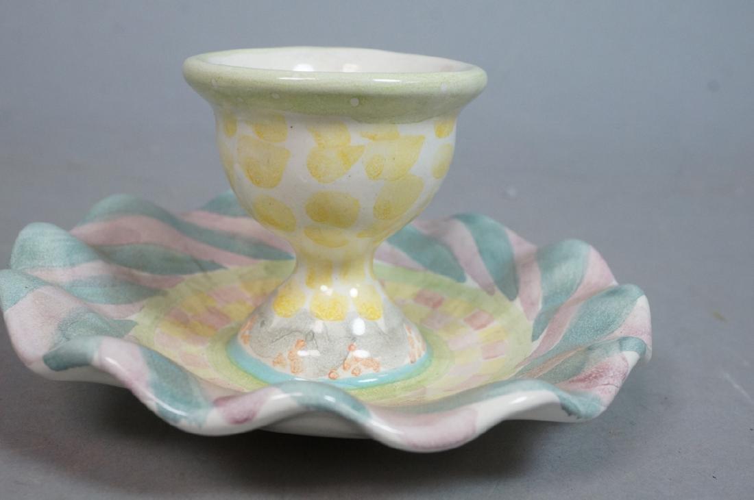 4 MACKENZIE CHILDS Egg Cups. 1991, 1992. Pastel c - 8