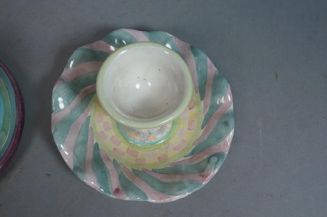 4 MACKENZIE CHILDS Egg Cups. 1991, 1992. Pastel c - 9