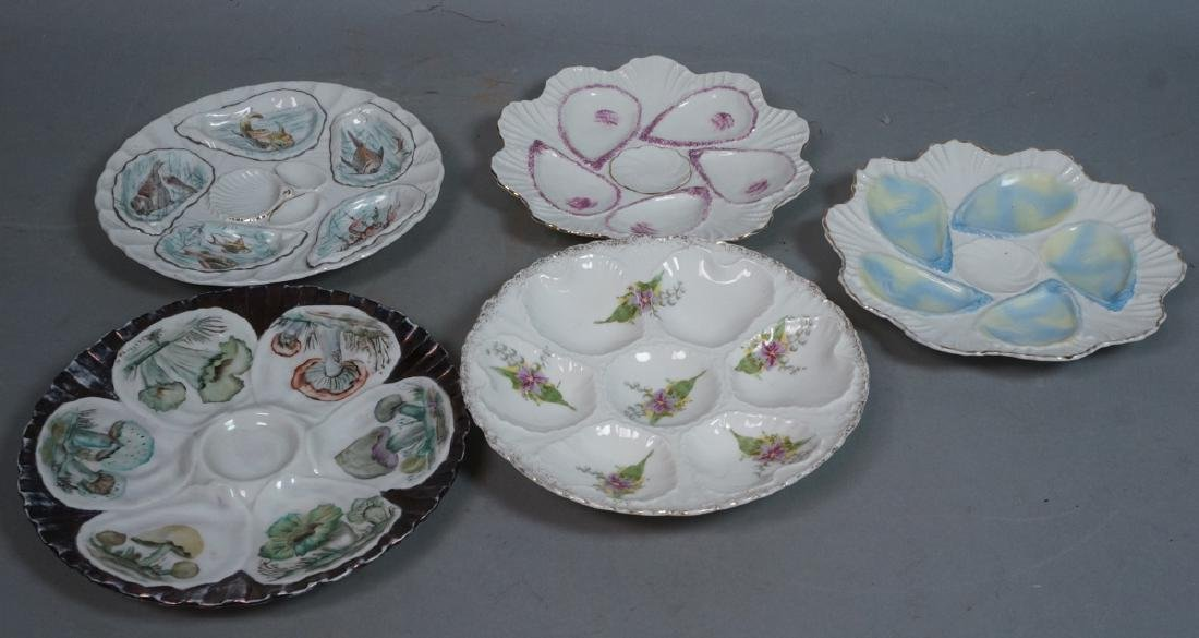 5 Vintage Porcelain Oyster Plates. One has hand p