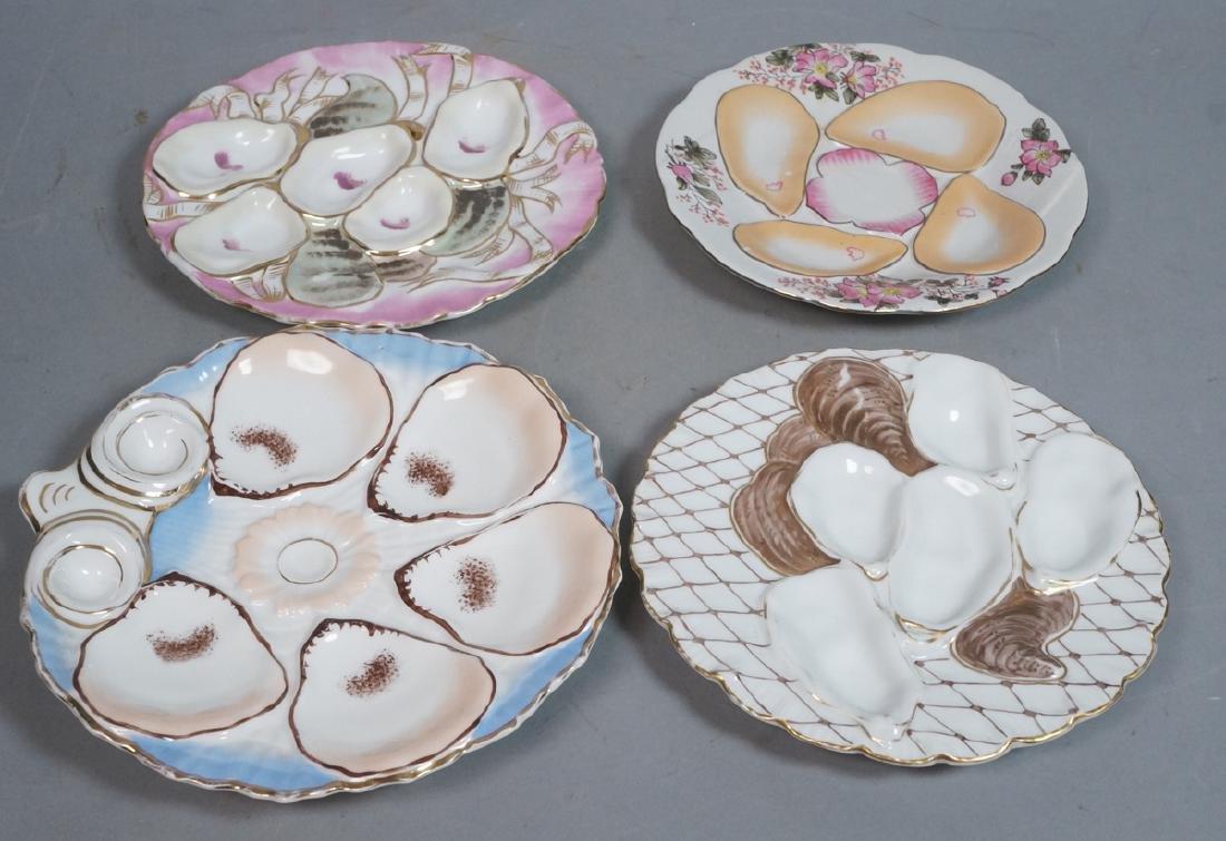 4 Vintage Porcelain Oyster Plates. Nippon, etc. A