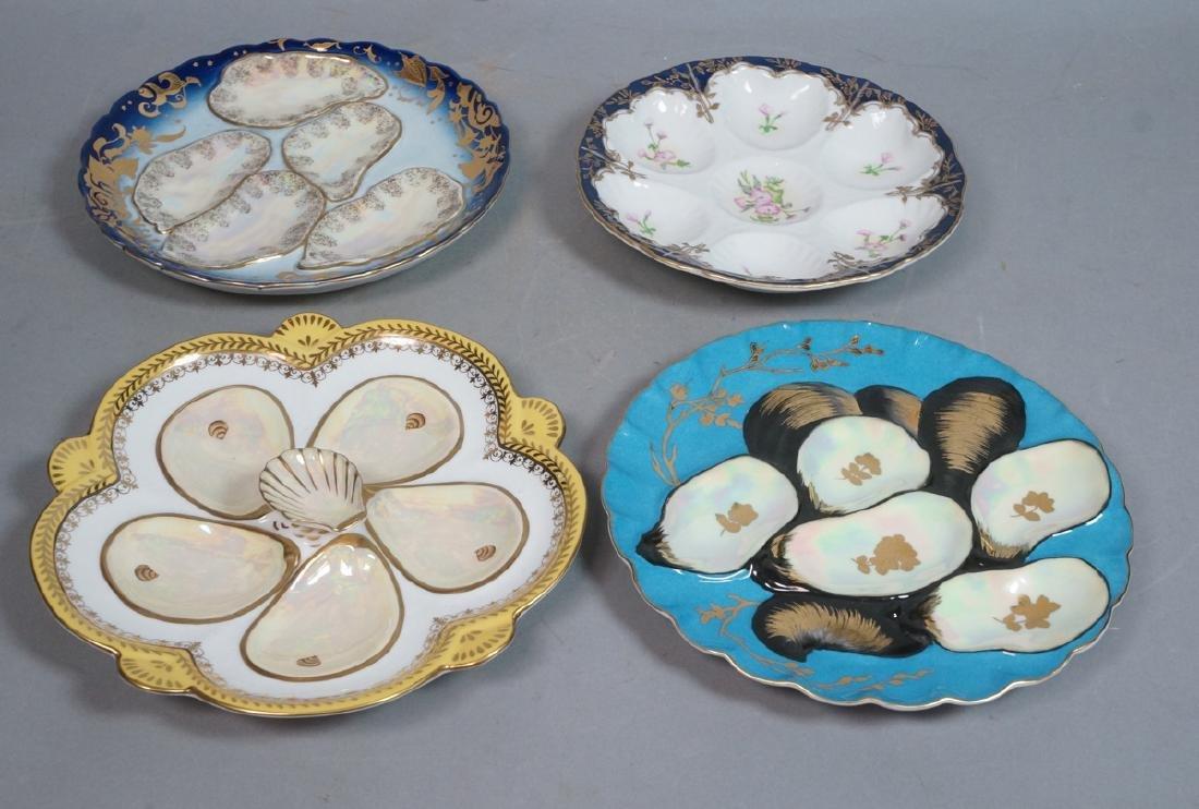 4 Vintage Porcelain LIMOGES Oyster Plates. 3 shel
