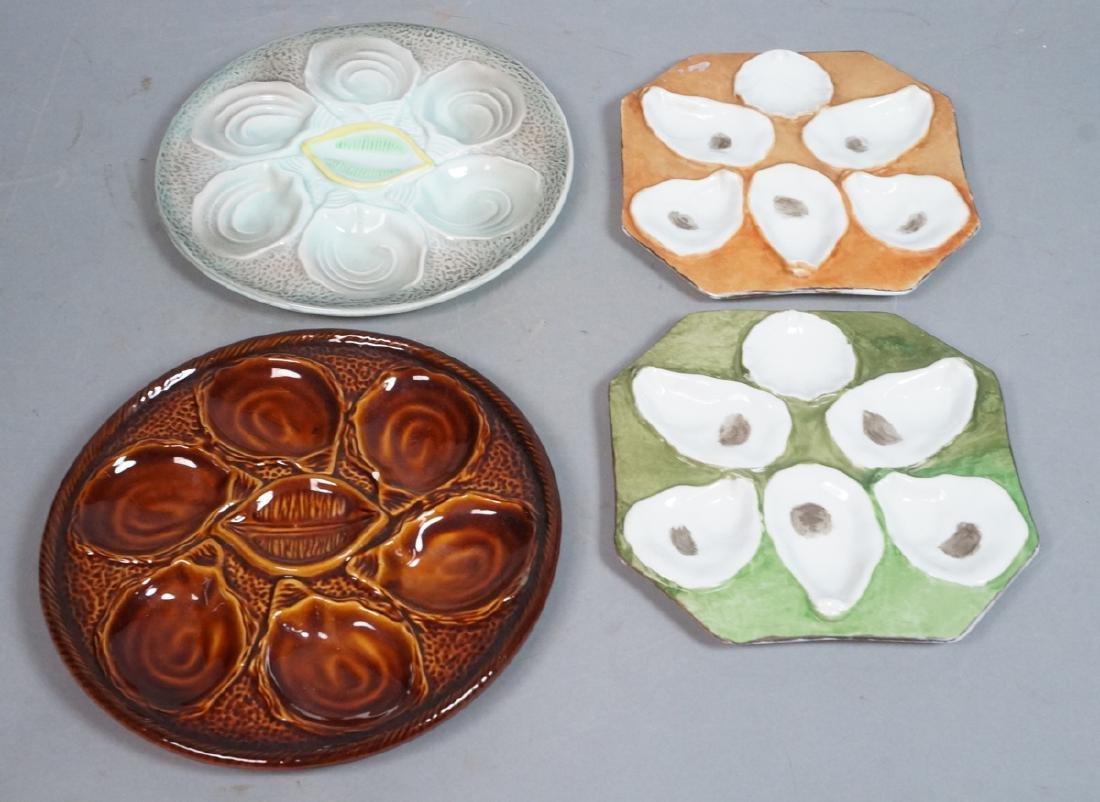 4 Vintage Porcelain Oyster Plates. Pr Octagonal p