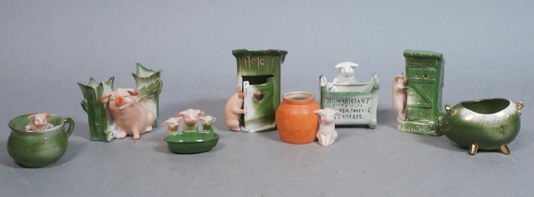 8 Whimsy Pig German Porcelain Figurines. 3 marked