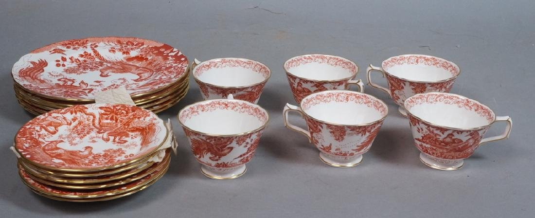 "16pc ROYAL CROWN DERBY Dinnerware. ""Red Aves"" Eng"