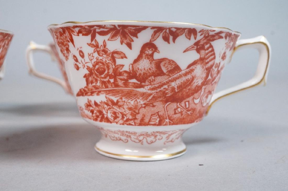 "16pc ROYAL CROWN DERBY Dinnerware. ""Red Aves"" Eng - 2"