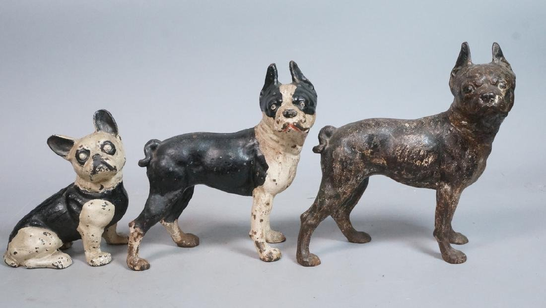 3pc Vintage Cast Iron Dog Door Stops. 2 Boston Te