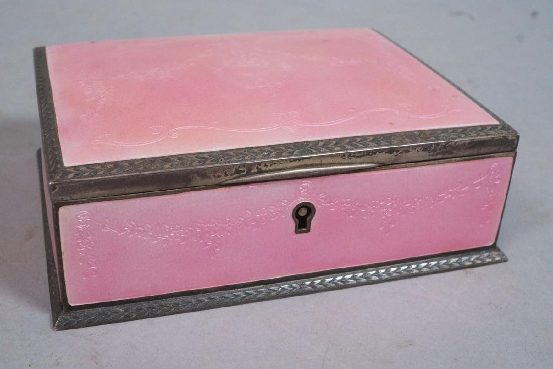 Sterling Pink Enamel Antique Dresser Jewelry Box.
