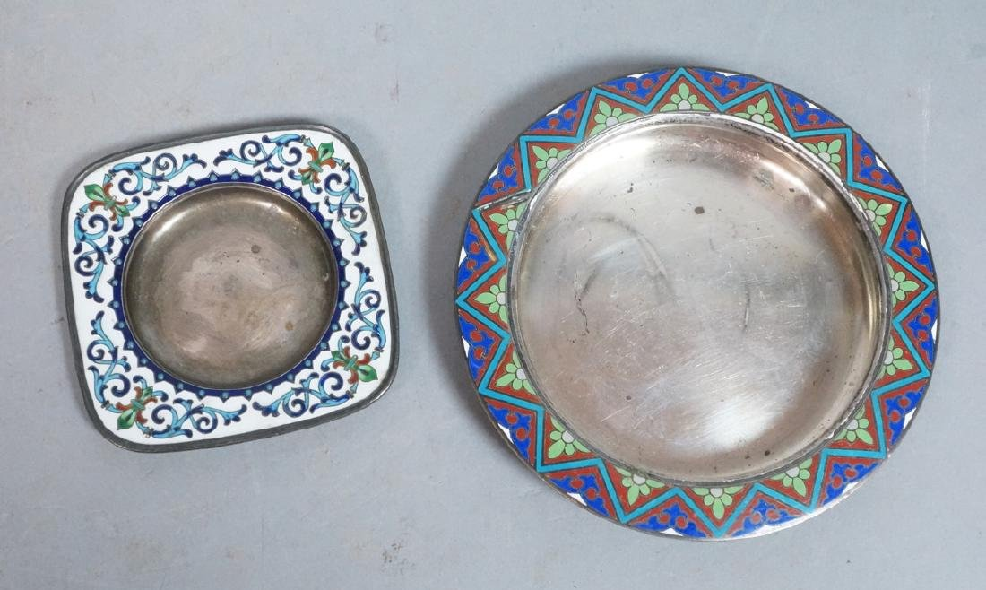 2 Sterling Enamel Dishes Coasters. Russian signed