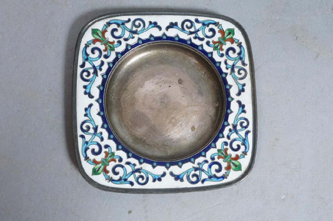 2 Sterling Enamel Dishes Coasters. Russian signed - 2