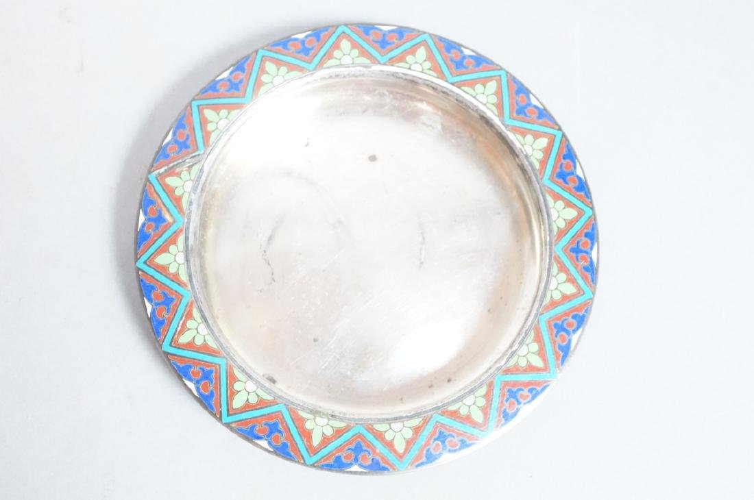 2 Sterling Enamel Dishes Coasters. Russian signed - 5