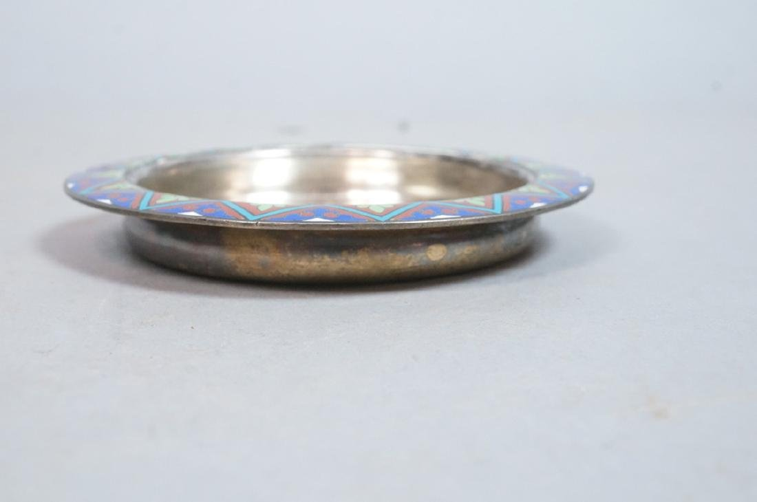 2 Sterling Enamel Dishes Coasters. Russian signed - 8