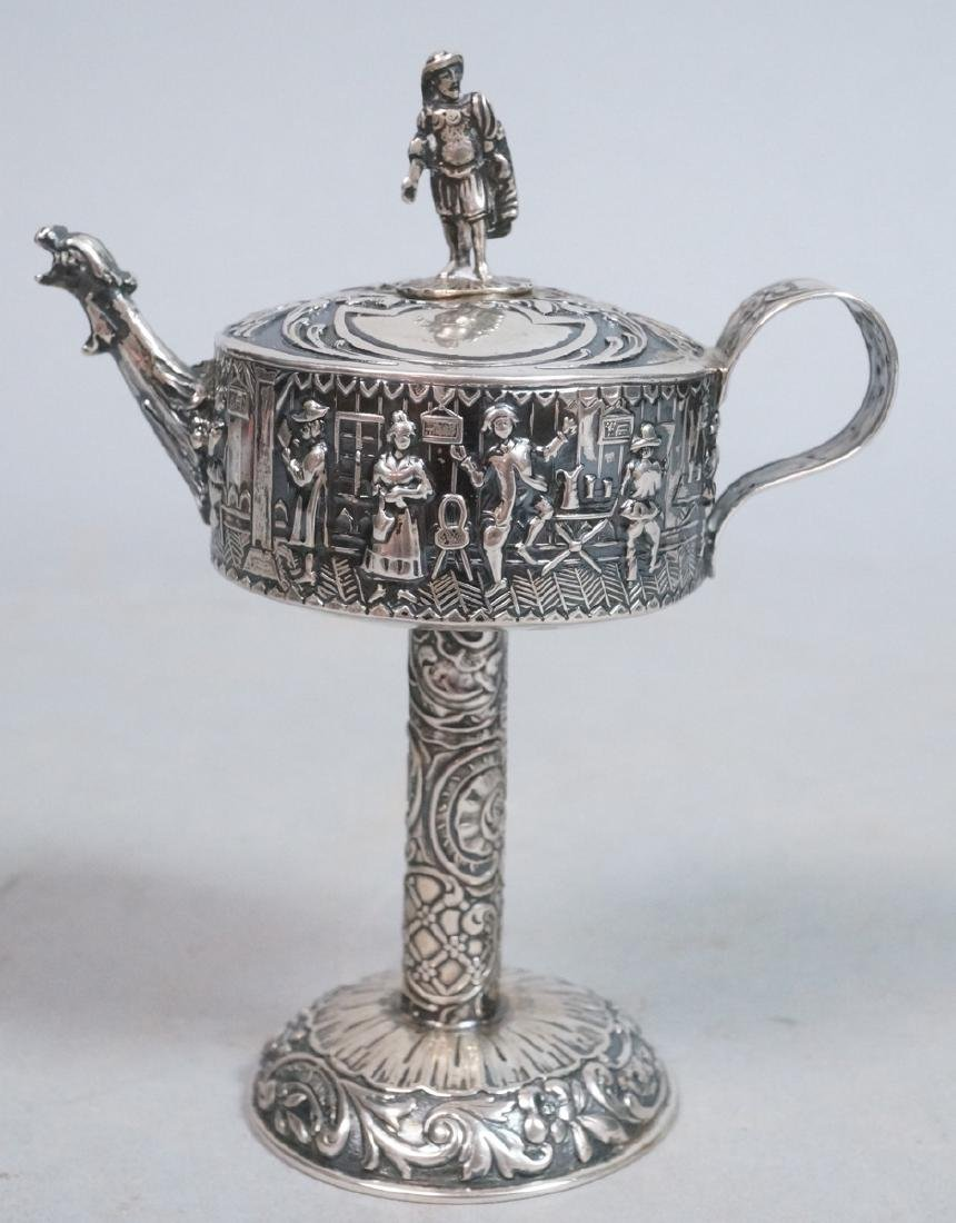 Silver Judaica Small Spouted Container on Tall Pe