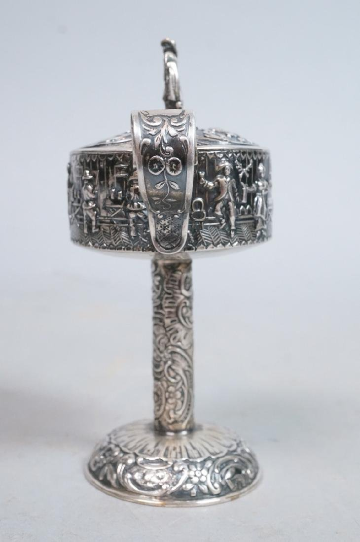 Silver Judaica Small Spouted Container on Tall Pe - 2