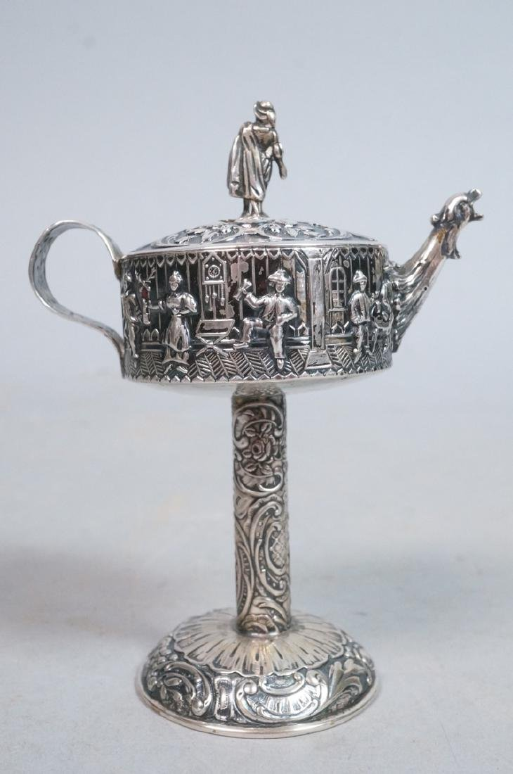 Silver Judaica Small Spouted Container on Tall Pe - 3