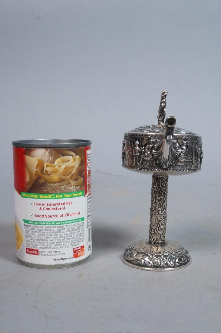 Silver Judaica Small Spouted Container on Tall Pe - 4