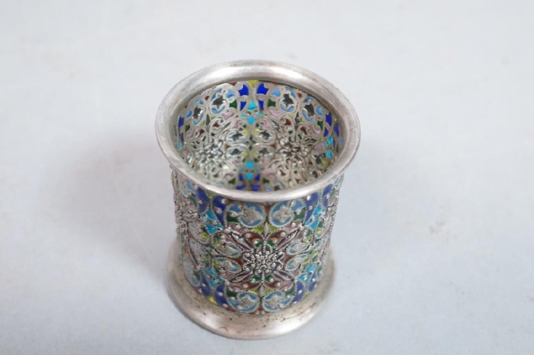 SCHEIBLER Sterling Silver  Plique a Jour Jar. Ste - 2