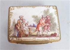 Early BATTERSEA Porcelain Hinged box Gilt metal