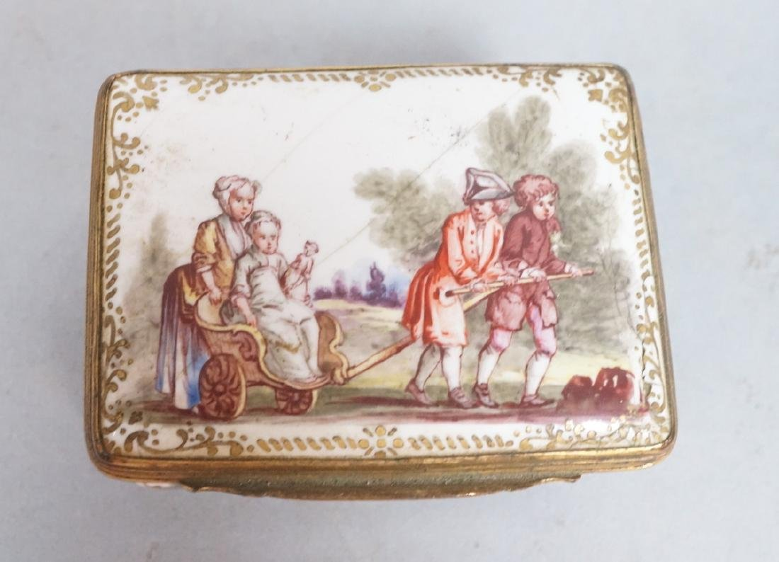 Early BATTERSEA Porcelain Hinged box. Gilt metal