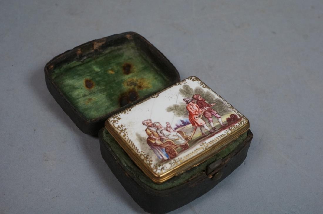 Early BATTERSEA Porcelain Hinged box. Gilt metal - 2