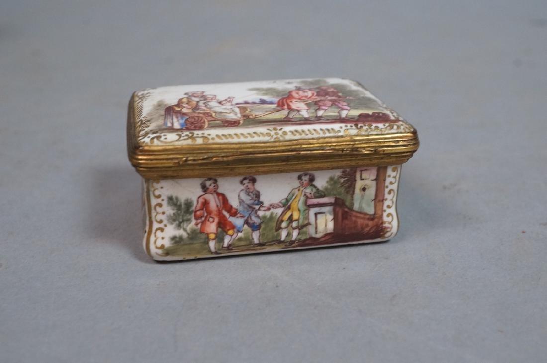 Early BATTERSEA Porcelain Hinged box. Gilt metal - 5