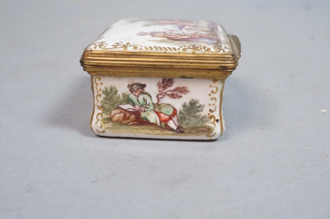 Early BATTERSEA Porcelain Hinged box. Gilt metal - 6