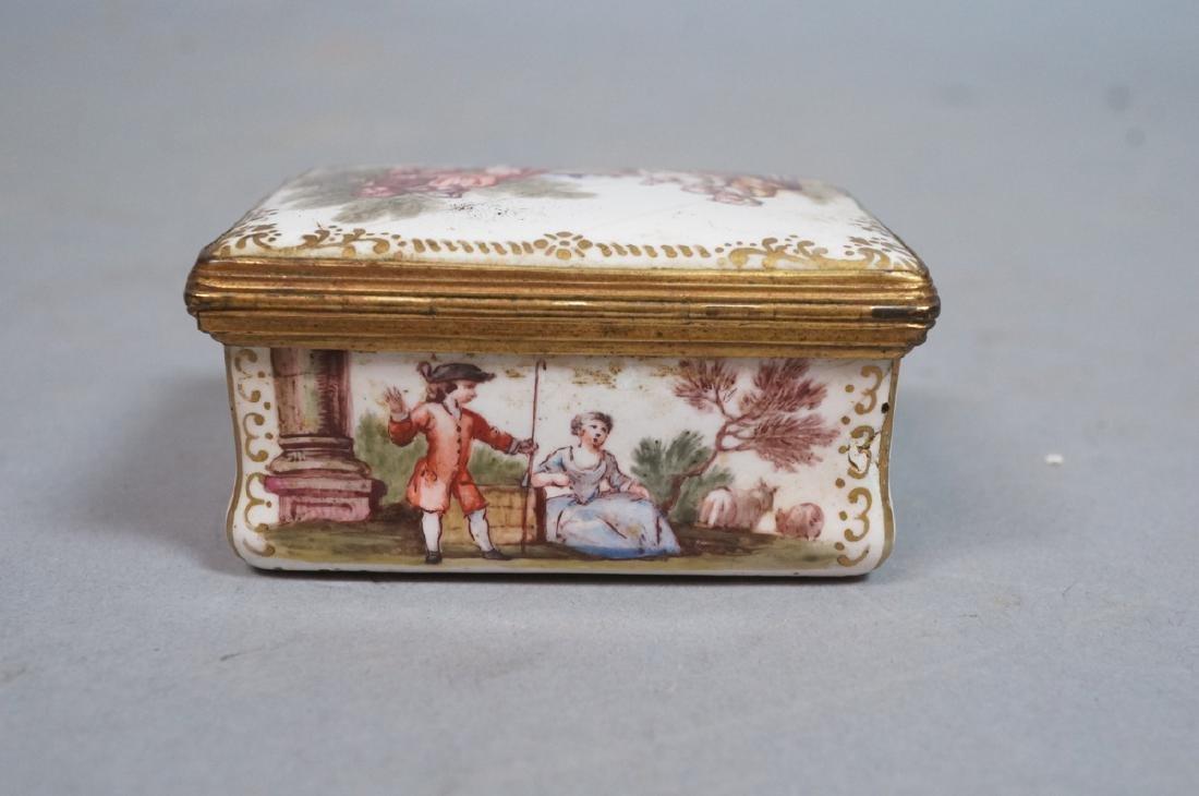 Early BATTERSEA Porcelain Hinged box. Gilt metal - 7
