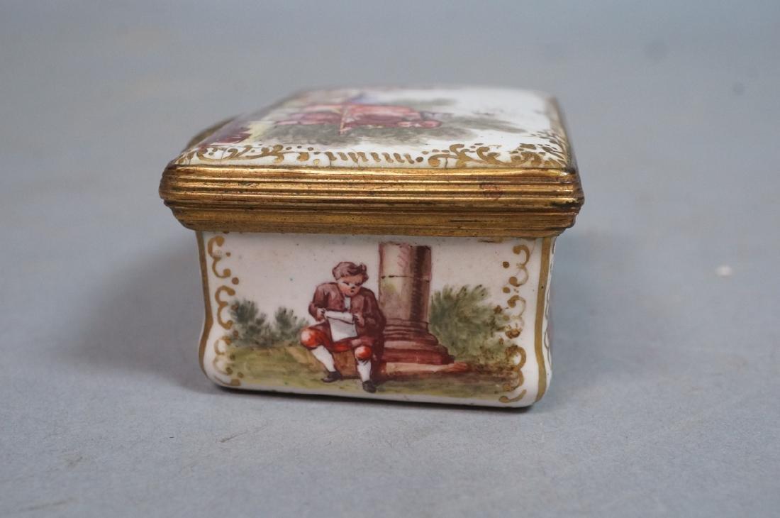 Early BATTERSEA Porcelain Hinged box. Gilt metal - 8