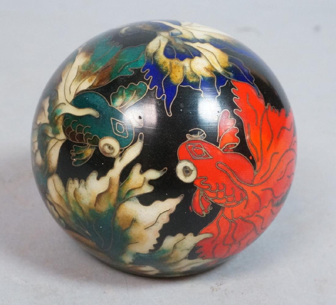 Cloisonne Enamel Ball Paperweight. Fancy tailed g