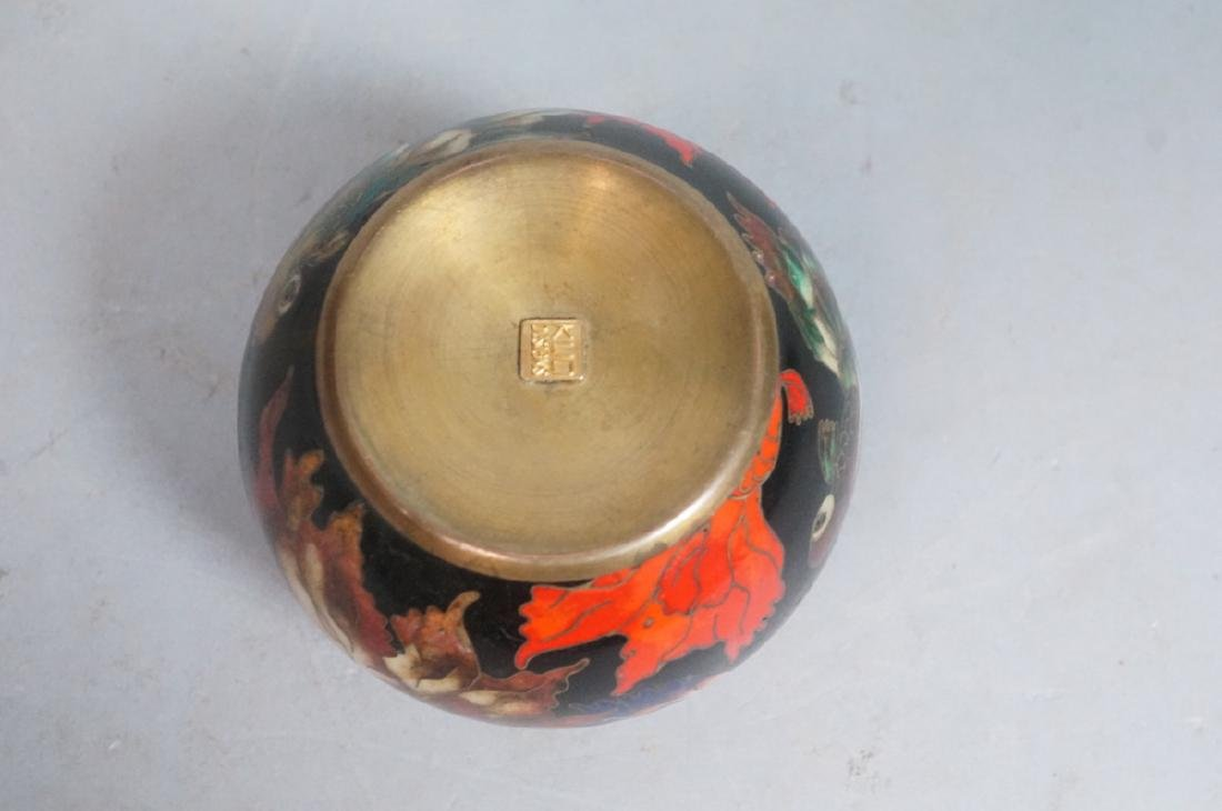 Cloisonne Enamel Ball Paperweight. Fancy tailed g - 4